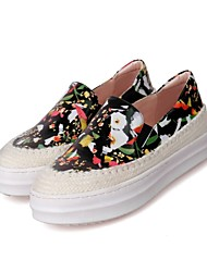 Women's Shoes Leather Flat Heel Comfort/Round Toe Fashion Sneakers Casual Black/Pink/White/Multi-color