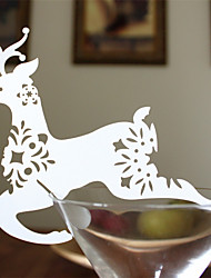 12pcs Reindeer Wine Glass Card Escort Cup Card Table Name Number Place Card for Christmas Party Window Decorations