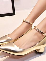 Zapatos de mujer - Tacón Robusto - Puntiagudos - Tacones - Vestido - Semicuero - Plata / Oro