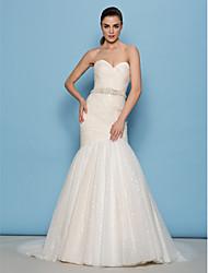 lanting novia lanting ajuste& vestido de novia de la llamarada - marfil barrido / cepillo tren novia de tul / lentejuelas