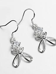 vente de produits chauds de robe de mariage 925 plaqué argent boucles d'oreilles pour dame avec zircon bijoux de déclaration