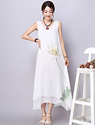 xiw&F Women's Vintage/Casual/Print Loose Irregular Solid Chinese Ink Sleeveless Maxi Dress (Linen)