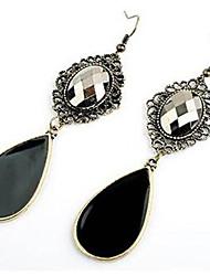 Pendientes colgantes Gema Zirconia Cúbica Legierung estilo de Bohemia Gota Negro Pantalla de color Joyas 2 piezas
