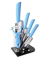 6 Stück Keramik-Messer mit Messerhalter-Set, 3'' / 4'' / 5'' / 6'' Messer und Schäler mit Acryl-Halter