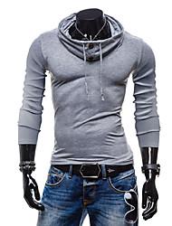 Tee-shirt Hommes,Couleur Pleine Décontracté / Quotidien Manches Longues Coton
