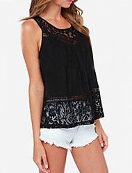 Women's Round Neck Lace Split Backless Vest , Lace Sleeveless