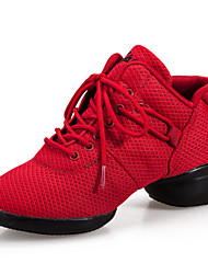 Non Customizable Women's Dance Shoes Dance Sneakers/Swing Shoes Synthetic Flat Heel Black/Red
