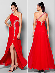 TS Couture® Formal Evening Dress - Furcal Plus Size / Petite Sheath / Column One Shoulder Floor-length Chiffon with Beading / Crystal Detailing