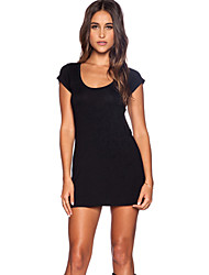 Women's Casual/Daily Sexy Shift Dress,Solid Deep U Above Knee Short Sleeve Black Cotton Summer