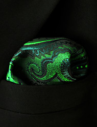 UH30 Shlax&Wing Paisley Green Black Pocket Square Mens Hankies Hanky