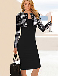 Dominic Women's Color Block Black Dresses , Bodycon / Casual Round Long Sleeve