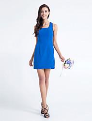 Vestido de Dama de Honor - Azul Real Corte Recto Escote Cuadrado - Corto Gasa