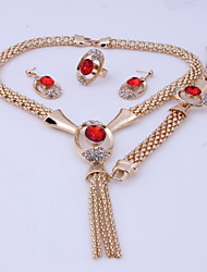 New Design Wedding Zircon Alloy Gold Plated (Including Necklace, Earring, Bracelet) Jewelry Sets(Black)