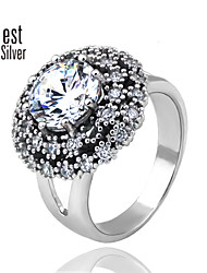 Sterling Silver Micro Diamond Agate Ring for Women Wouth Korea's big Flower Round Diamond Ring J057