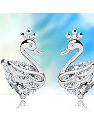 S925 boucles d'oreilles en argent coréens boucles d'oreilles de mode Little Swan boucles d'oreilles en argent sterling
