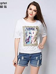 Women's Print Pink/White/Black T-shirt , Round Neck ½ Length Sleeve Beaded