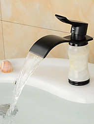 Contemporary Waterfall Brass Imitation jade Bathroom Sink Faucet - Black