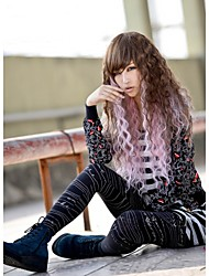 Long Curly Brown Root Pink Ombre Syntheitc Wig Heat Resistant Synthetic Wig Kanekalon Ombre Natural Wig