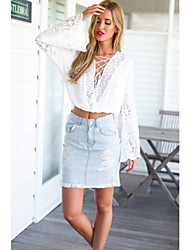 Women's Flared Sleeves Embellished Lace-Up Crop Top