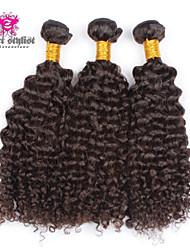 4pcs / lot 5a non transformés cheveux crépus vierge brésilien Extensions de cheveux bouclés humains naturelle des cheveux noirs tisse 8-26