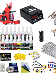 Complete Tattoo Kit 1 machine Gun 20 Color Inks Power Supply