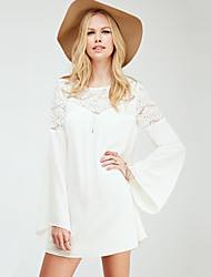 Women's Casual/Daily Vintage / Cute Loose Dress,Solid / Patchwork Round Neck Above Knee Long Sleeve White Fall