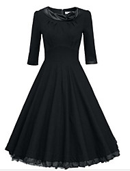 Women's Vintage Beam Waist Flouncing Swing Dress