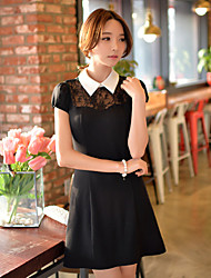 DABUWAWA Women's Lace/Work Square Short Sleeve Dresses (Nylon/Polyester/Viscose)