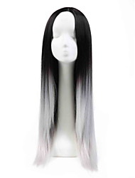 "28"" Long Straight Synthetic Hair Wigs None Lace Wig Ombre Wigs For Black Women"