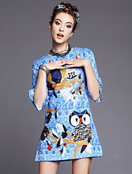 Autumn Winter Europ Fashion Style Women Dress Embroidery Owl Plus Size 3/4 Sleeve Casual/Party/Work Dress