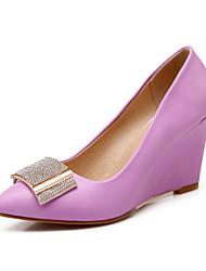 Women's Shoes Leatherette Wedge Heel Wedges Heels Office & Career / Dress Pink / Purple / White / Almond