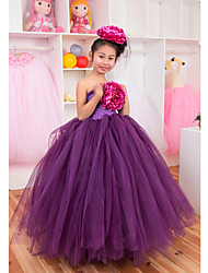 Performance Dresses Children's Performance Polyester Pleated 1 Piece Pink / Purple / Red / White Performance Sleeveless PrincessWaist