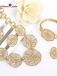 Westernrain Chunky Necklace and Bangle Sets Designer Vintage Costume Women Wedding Accessories Gold Plated jewellery set