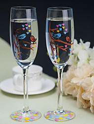 Color Hand-painted Toasting Flutes (Set of 2)---- the  Birde