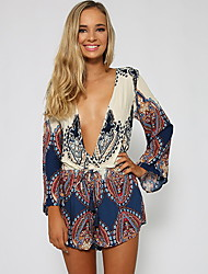 Women's Multi-color Jumpsuits , Sexy/Beach V Neck Long Sleeve