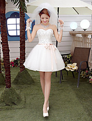 A-line Wedding Dress Short / Mini Sweetheart Tulle with