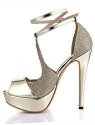 Mujer-Tacón Stiletto-Confort-Sandalias-Boda Vestido Fiesta y Noche-PU-Oro