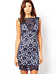 Women's Sexy Bodycon Lace Inelastic Sleeveless Above Knee Dress (Lace)