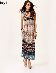 Women's Sexy/Beach/Casual/Print/Maxi Micro-elastic Sleeveless Maxi Dress (Silk)