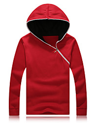 Men's Plus Size Black/Blue/Red Hoodie & Sweatshirt,Long Sleeve