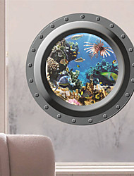 pegatinas de pared Adhesivos de pared, los peces del océano 3d etiqueta de la pared del pvc ventana