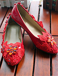 Women's Shoes Leather Flat Heel Round Toe Flats Wedding/Party & Evening Red