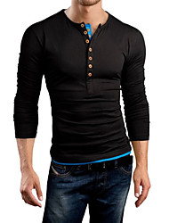 Jason Men's Casual Round Long Sleeve T-Shirts