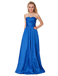 Formal Evening Dress - Pool Sheath/Column Strapless Floor-length Taffeta