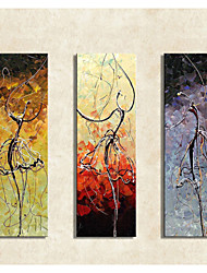 Hand-Painted Modern Abstract Vintage Dance Oil Painting on Canvas  3pcs/set Without Frame