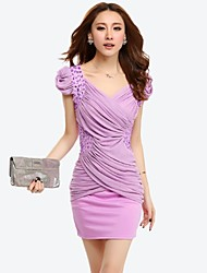 Women's Sexy/Bodycon/Casual/Cute/Party/Work/Plus Sizes Micro-elastic Short Sleeve Mini Dress (Chiffon)