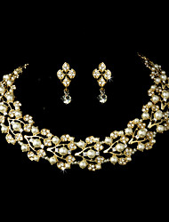 Women's Gold Alloy Wedding/Party Jewelry Set With Rhinestone White Pearls Rhinestones/Crystal/Diamond For Bridal