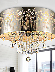 Flush Mount Light Crystal Chrome Color Hollow Carving Fashion Modern
