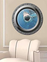 stickers muraux stickers muraux, 3d océan fenêtre de requin sticker mural PVC