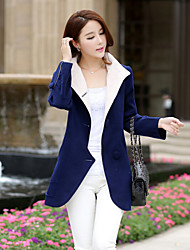 Women's Solid Blue/Red Coat , Casual Long Sleeve Wool Blends